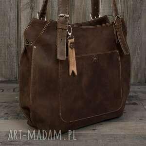 Ręcznie robiona skórzana torebka brązowa, skórzane torby