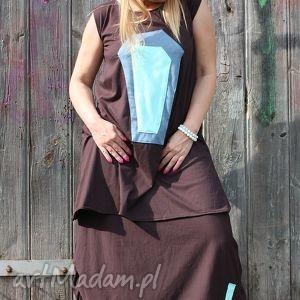 tunika-motyw indiański, wygodna, wymyślna, tunika, dzianinowa, midi, sukienka