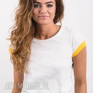 T-SHIRT - KOSZULKA SUNNY SLEEVES, biała, koszulka, t-shirt, bawełna, żółty, wygodny