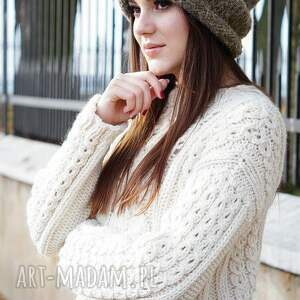Alpakowa czapka brązowa, czapka, paski, smefretka, dziergana, cieniowana, alpaka