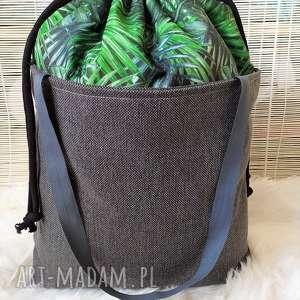 torba z kominem w zielone liście, torba, torebka, komin, plażowa, zakupowa