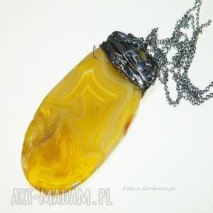 mega duży wisior z żółtego agatu otulony miedzią, agat, oryginalny