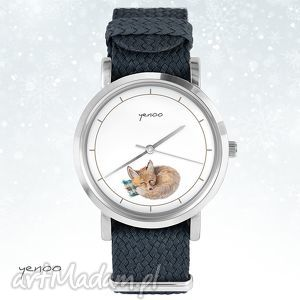 upominek na święta Zegarek, bransoletka - Lisek grafitowy, zegarek, nato, lisek