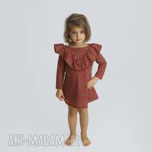 sukienka z falbana w kratke, wkrate, kratka, swiateczna sukienka