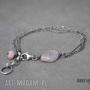 Bransoletka mini z kunzytem i opalem, srebro, kunzyt, opal, mini, minerały