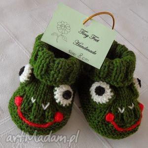 hand made buciki niemowlęce - żabka