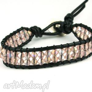 hand made snake wrap: różowe kryształki