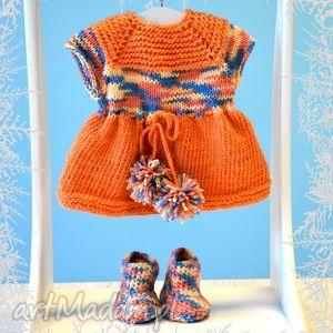 lalki sukienka i kozaczki dla lalki, misia ok 40 cm zestaw mandarynkowy