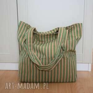 torebki zielony pasiak, paski, bawełna
