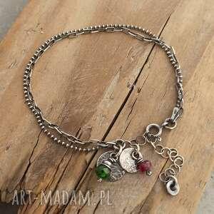 handmade różowy i zielony turmalin. Subtelna srebrna bransoletka