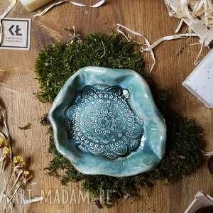 ręcznie zrobione ceramika mydelniczka niebieska