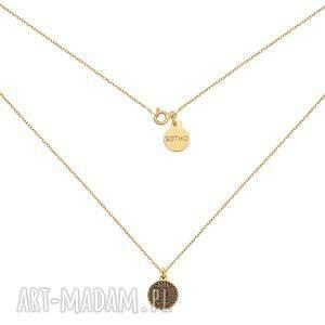 złoty naszyjnik z monetą - pozłacany, zawieszka, medalion