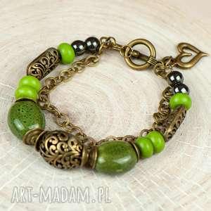bransoletka zielona z ceramiką c652, wiosenna bransoletka, prezent