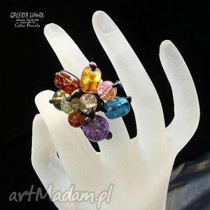 szkło crackle multicolor na palcu, modny, kolorowy, szkło, crackle, technika