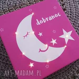 ręcznie zrobione pokoik dziecka świecący księżyc gwiazda obraz personalizowany prezent dla dziecka lampka
