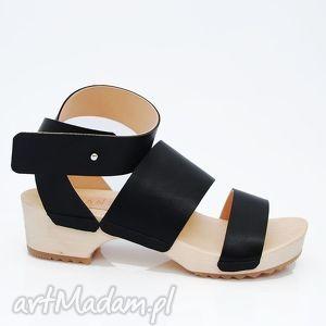 buty drewniaki czarna skóra, buty, ręcznie, robione, naturalna