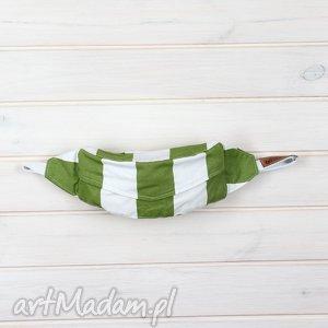Zielona Biała bawełniana nerka w paski, nerka, saszetka, bawełniana, sportowa