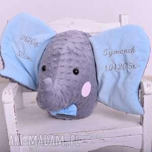 przytulanka dziecięca słoń głowa z metryczką, poduszka słoń, metryczka