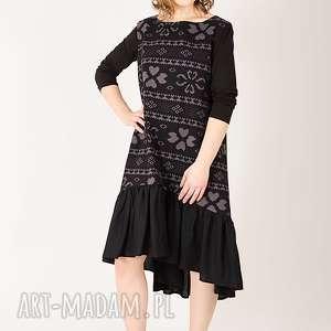 Sukienka z bawełny, wzór, nadruk, sukienka, rozkloszowana, wzorek, print