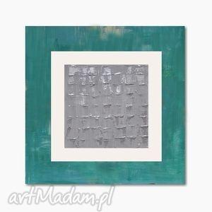 geometria srebra, abstrakcja, nowoczesny obraz ręcznie malowany, geometryczny