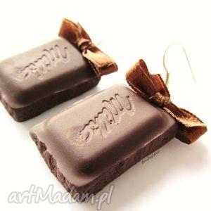 KOLCZYKI czeko, kolczyki, modelina, fimo, czekolada, czekoladki