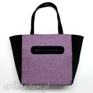 shopper bag worek - tkanina fioletowa i czarna, elegancka, nowoczesna, handmade