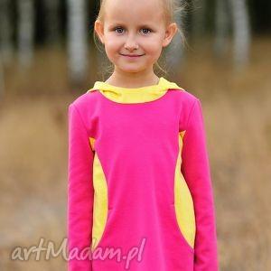 rózowo -żółta tunika z kapturem dla dziewczynki, dziewczynka, tunika, kaptur