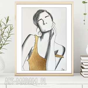 minimalistyczna, zmysłowa kobieca akwarela ze złotem - a4 uwodzicielka, obraz