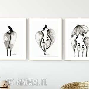 zestaw 3 grafik 30x40 cm wykonanych ręcznie, plakat, abstrakcja, elegancki