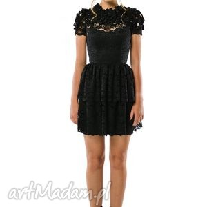 Krzesława - sukienka koktajlowa z czarnej koronki, wieczorowa, ekskluzywna, koronka