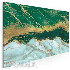 obraz na płótnie - marmur złoto zielony 120x80 cm 96504, marmur, kamień