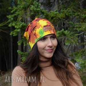 ręcznie zrobione czapki czapka w jesienne liście unisex kolorowa
