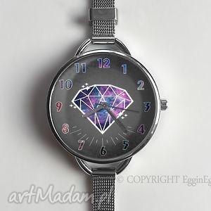 egginegg diamentowy czas - zegarek z dużą tarczką, zegarek, diament, kosmos, galaxy