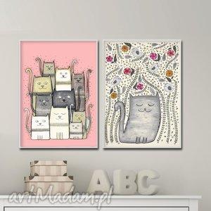 zestaw dwóch prac a3 - dziecko, ilustracja, obrazek, kot, kotek, koty