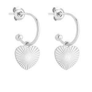 srebrne kolczyki z sercami sotho - miłość, półkola