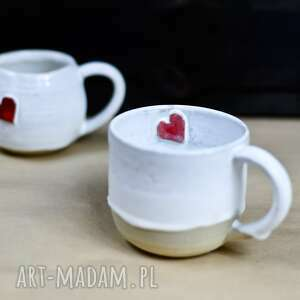 handmade kubek ceramiczny - oszronione serce walentynki -250 ml, ceramika