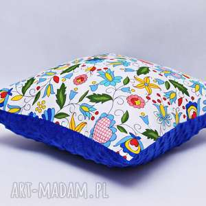 Poduszka kaszubska z niebieskim minky, poduszka, regionalna,