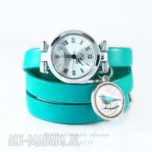 zegarki zegarek, bransoletka - turkusowy ptaszek turkusowy, skórzany, zegarek