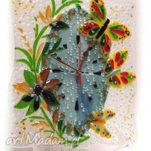artystyczna kompozycja ze szkła - zegar gorące lato, szklo, zegary, motylek, dom