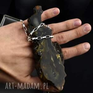 hand-made naszyjniki naszyjnik z ogromnym surowym bursztynem srebro