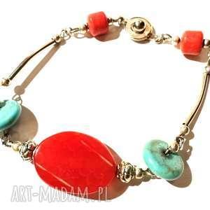 bransoletka klasyczna z kamieniami, kamienie, koraliki, damska, walentynki