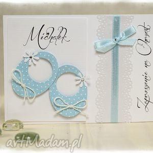 handmade zaproszenie little shoes błękitne - zaproszenia na chrzest święty