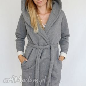 S - M płaszcz z kapturem szary melanż, bawełna, dzianina, wiosna, eko