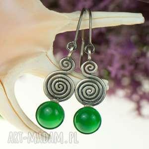 kolczyki srebrne spiralki z agatami a633 - kolczyki srebrne, kolczyki z agatami, zielone