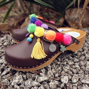 hand-made buty 37-niepowtarzalne tęczowe boho chodaki:)