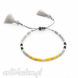 bransoletka minimal - yellow and gray, bransoletka, koralikowa, chwost, delikatna