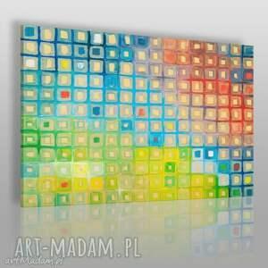 obraz na płótnie - kwadraty kolory 120x80 cm 15001 , obraz, abstrakcja, kolorowy