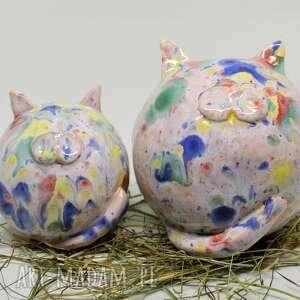 zwierzaki piękne koty kule ceramiczne na prezent obw 30 cm i 45 komplet