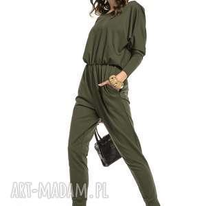 spodnie stylowy kombinezon z rozcięciem na plecach, t301, zielony