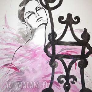 DAMA RÓŻANA obraz artystki plastyka Adriany Laube 70x50cm, akwarele, dama, vintage